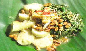 Lontong with assorted vegetables