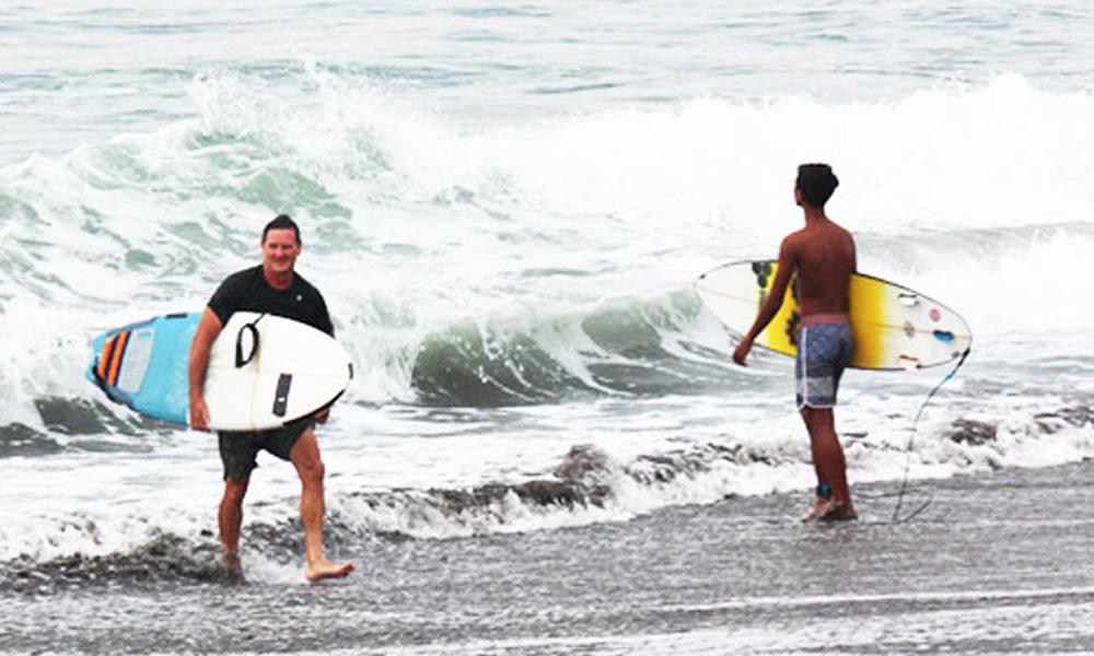 Surfing activities.